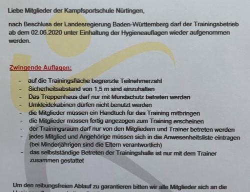 Wiedereinstieg in das Training ab dem 02.06.2020